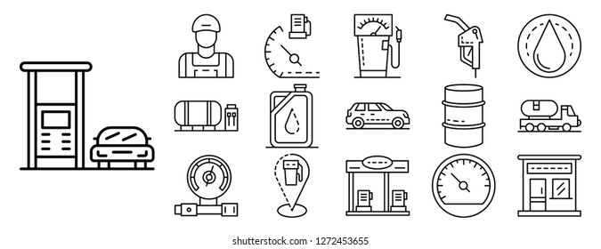 Combustion fuelling icon set. Outline set of combustion fuelling vector icons for web design isolated on white background