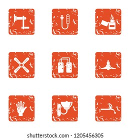 Combustion icons set. Grunge set of 9 combustion vector icons for web isolated on white background