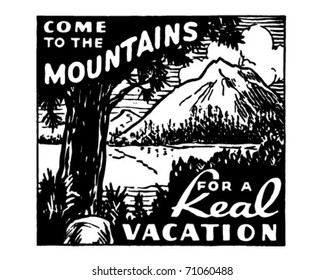 Come To The Mountains - Retro Ad Art Banner