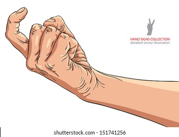 Come on hand sign, detailed vector illustration.