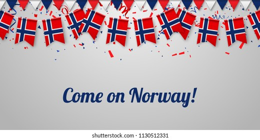 Come on Norway! White festive background with national flags and confetti. Vector paper illustration.