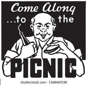 Come To The Picnic  - Retro Ad Art Banner