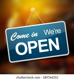 Come in we are open entrance blue sign vector illustration