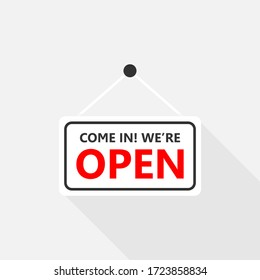 Come in we are open sign on signboard with rope for business, Online Shopping, Vector design of flat icon on isolated background.