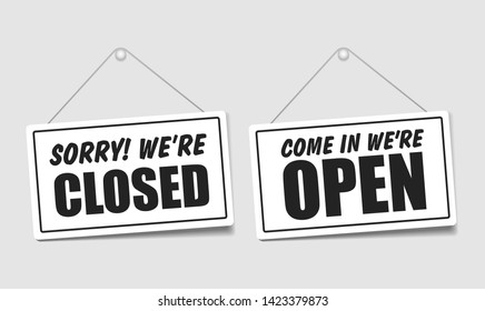 Come in we're open or closed in signboard with a rope on transparent background. Vector