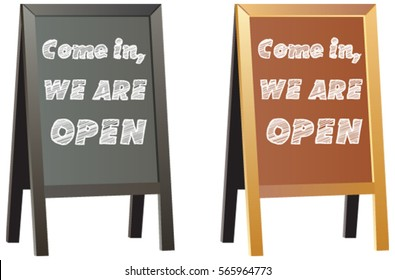 Come in we're open sign display for shops or business on vector Double sided traditional wood framed chalkboard, shop sign or advertisement boards