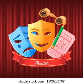 Comedy and drama masks vector, disguises and binoculars flat style. Tickets to watch play in theater, ribbon with inscriptions glasses for show details. Red curtain theater background
