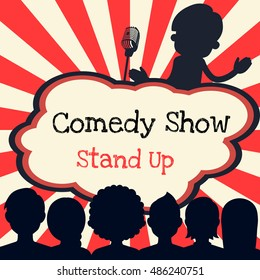 comedy live show stand up / man with microphone on the stage poster