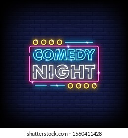 Comedy Night Neon Signs Style Text Vector
