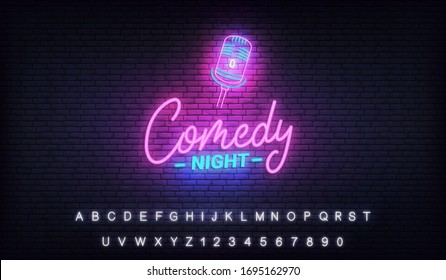 Comedy night neon template. Comedy lettering and glowing neon microphone