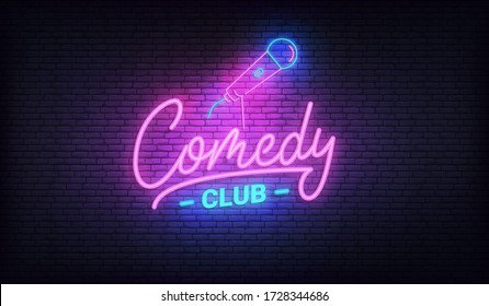 Comedy night neon template. Comedy lettering and glowing neon microphone.