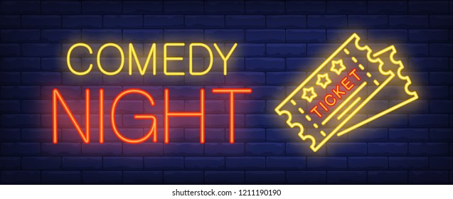 Comedy night neon text with tickets. Show invitation advertisement design. Night bright neon sign, colorful billboard, light banner. Vector illustration in neon style.