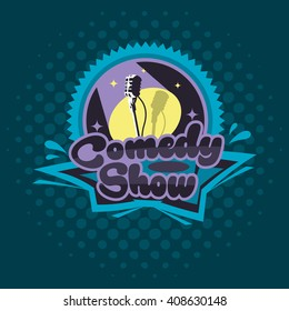 Comedy Show Concept. Emblem Template. Microphone Vector Illustration. Halftone Background.  Full Organized Objects In Groups.