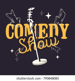 Comedy Show  Design With Old Fashioned Microphone. Vector Graphic