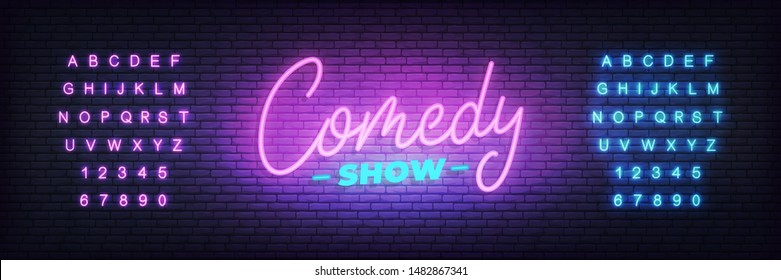 Comedy show neon. Lettering neon glowing sign for Comedy show.