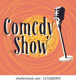 Comedy Show Poster With Microphone Vector Image.