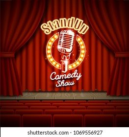 Comedy show theater scene with red curtains vector realistic illustration. Stand up comedy event poster.