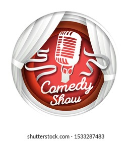 Comedy show, vector illustration in paper art modern craft style. Paper cut white theatre scene curtains and microphone silhouette, text, ribbons in circle.