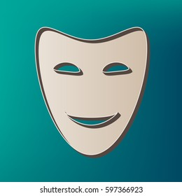Comedy theatrical masks. Vector. Icon printed at 3d on sea color background.