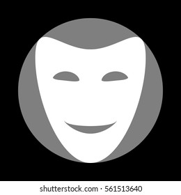 Comedy theatrical masks. White icon in gray circle at black background. Circumscribed circle. Circumcircle.