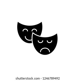 Comedy and tragedy black icon, vector sign on isolated background. Comedy and tragedy concept symbol, illustration