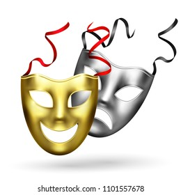 Comedy tragedy golden silver masks theatre realistic composition of two classic theatrical masks happy and sad vector illustration