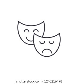 Comedy and tragedy line icon concept. Comedy and tragedy vector linear illustration, symbol, sign