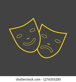 Comedy and tragedy line theater masks vector illustration