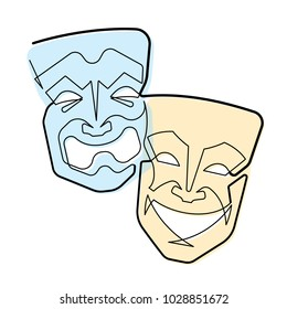 Comedy and Tragedy Masks Continuous Line Vector