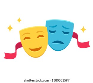 Comedy and tragedy masks with red ribbon, traditional symbol of theater. Yellow happy and blue sad face mask icon, simple cartoon vector illustration.