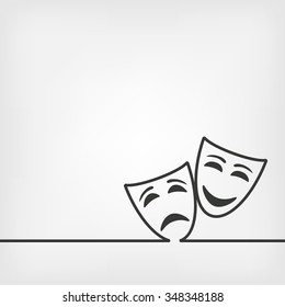 comedy and tragedy masks white background. vector illustration - eps 8