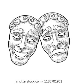 Comedy and tragedy theater masks. Vector engraving vintage black illustration. Isolated on white background. Hand drawn design element for poster