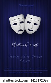 Comedy and Tragedy theatrical mask isolated on a blue curtain background. Vector illustration
