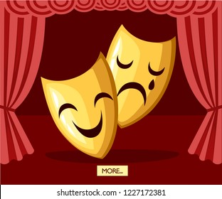 Comedy and tragedy theatrical masks. Golden theater masks. Greek culture. Flat vector illustration on stage background.