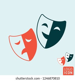 Comedy and tragedy theatrical masks symbol. Theater mask icon. Vector illustration