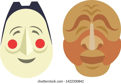 Comedy and tragedy vector theatrical Korean people masks comedy symbol. Vector theater humor performance face. Tragedy drama emotion masquerade carnival costume expression.