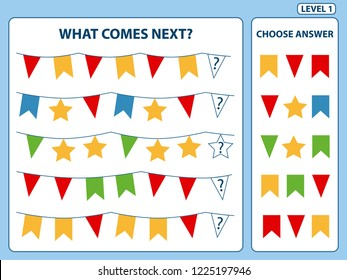 """""""What comes next"""" is educational game for the development of logical thinking of children. Find the regularity and continue the row task. Christmas theme. Difficulty level 1. Vector illustration"""