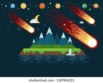 Comet fling to island for textile, with planets set illustration