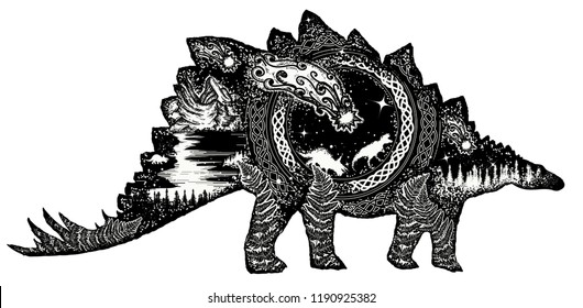 Comet has destroyed dinosaurs. Symbol of prehistoric, paleontology. Stegosaurus double exposure t-shirt design. Why the dinosaurs died out
