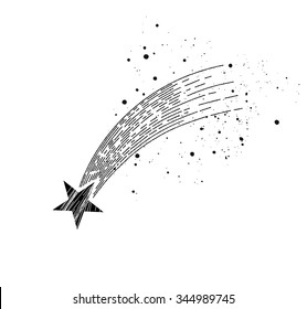 Comet, like a shooting star concept or asteroid. Vector illustration in vintage style.