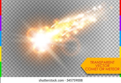 Comet, meteor or fire on transparent background. Vector glow special light effect with sparks. Rocket in sky