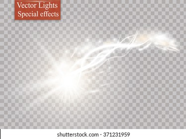 Comet, meteor or fire on transparent background. Vector glow special light effect with sparks.