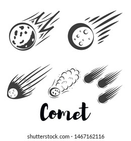 comet and star in flat style. Celestial body design