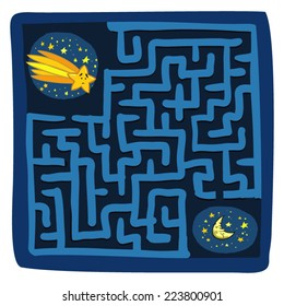 Comet's Maze Game (help the little lost shooting star find his way to the moon - Maze vector puzzle)