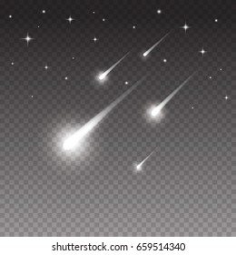 Comets shooting effect and glowing asteroids, stars in night sky. White falling meteorites isolated on black transparent background. Vector cosmos fantasy comets, starlight trail for your design.