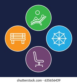 Comfort icons set. set of 4 comfort outline icons such as bench, office chair, man laying in the sun