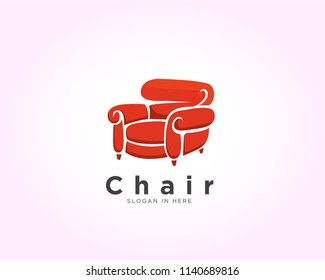 Comfort red chair logo, furniture logo, classic red chair logo