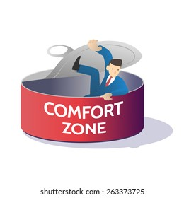 comfort zone can business man try to open and get out ,vector illustration isolate on white background.
