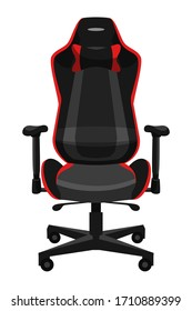 Comfortable armchair for gaming entertainment. Ergonomic chair front view. Casual gamer furniture isolated on white background. Workspace organization. E-sport, tournament, championship