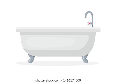 Comfortable bathtub flat vector illustration. Ceramic tub, faucet with hot water handle. Domestic spa relaxation equipment. Daily skincare, body care attribute. Washroom furniture, hygiene item